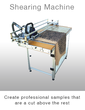 Modra Shearing System for finishing Kibby Mtuft carpet samples